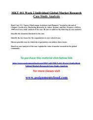 uop MKT 441 Week 2 Individual Global Market Research Case Study Analysis