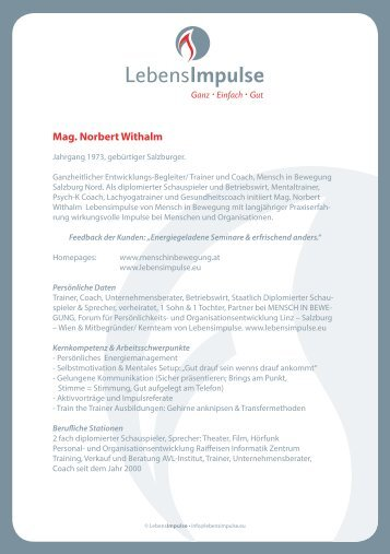 Mag. Norbert Withalm - Lebensimpulse