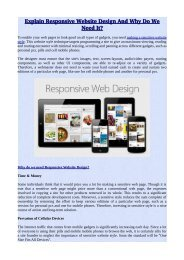 Explain Responsive Website Design And Why Do We Need It?