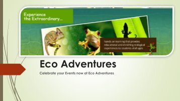 Celebrate your Events now at Eco Adventures