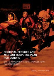 REGIONAL REFUGEE AND MIGRANT RESPONSE PLAN FOR EUROPE