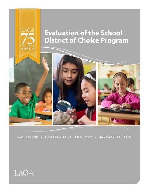 Evaluation of the School District of Choice Program