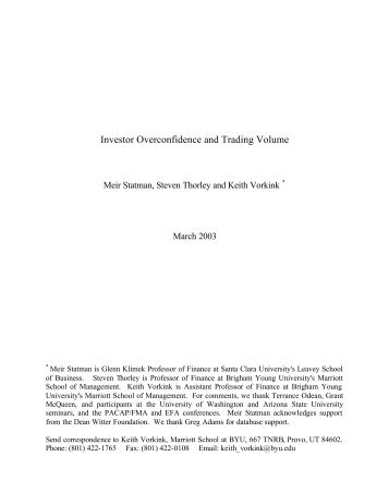 Investor Overconfidence and Trading Volume - Truthfully, simply the ...