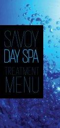treatment menu - Savoy Day Spa