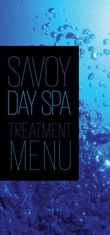treatment menu - Savoy Day Spa