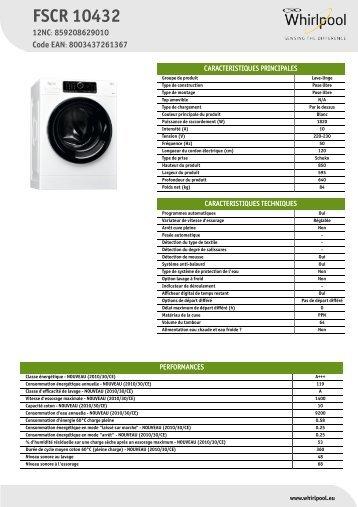 e1159355468017 Whirlpool Lave-linge frontal Supreme Care FSCR 10432 - Productinformatie -  Français