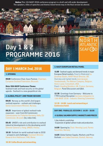 Day 1 & 2 PROGRAMME 2016