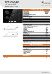 Whirlpool Table gaz 5 foyers - Grande largeur : 75 cm AKT 8000/NB - Productinformatie - Français