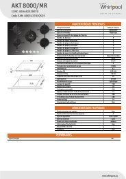 Whirlpool Table gaz 5 foyers - Grande largeur : 75 cm AKT 8000/MR - Productinformatie - Français