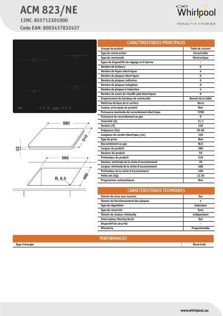 pas mal 6235a bd1b5 Whirlpool Table de cuisson - Induction ACM 823/NE ...