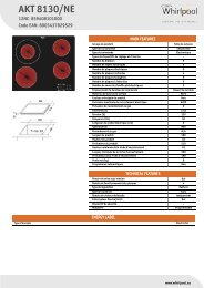 Whirlpool Table vitrocéramique 4 foyers - Largeur : 60 cm AKT 8130/NE - Productinformatie - Français
