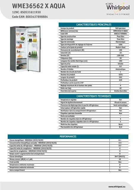 whirlpool réfrigérateur 1 porte wme36562 x aqua mode d'emploi et