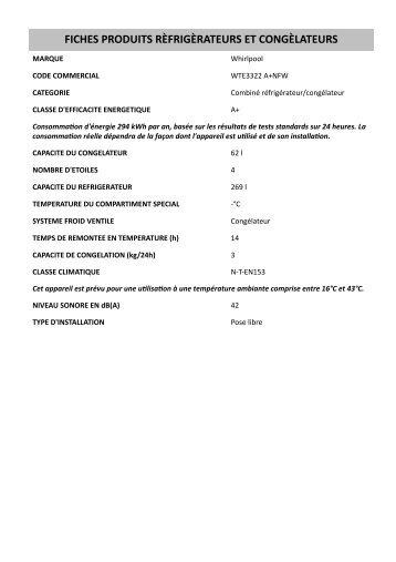 Whirlpool Double Porte WTE3322 A+NFW - Informations sur le produit - Français