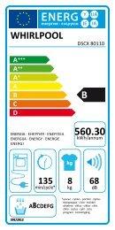 Whirlpool Sèche-linge Supreme Care DSCX 80110 - Label énergétique - Français