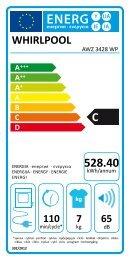 Whirlpool Sèche-linge ventilé 6ème Sens® AWZ 3428 WP - Label énergétique - Français
