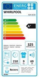 Whirlpool Sèche-linge pompe à chaleur AZA 9210 - Label énergétique - Français