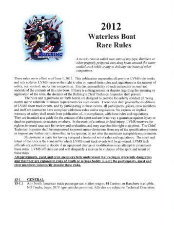 2012 Waterless Boat Race Rules