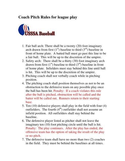 Coach Pitch Rules for league play - Arizona USSSA Baseball