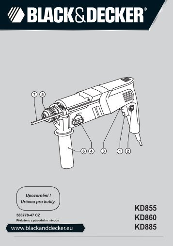 BlackandDecker Marteau Rotatif- Kd860 - Type 1 - Instruction Manual (Tchèque)