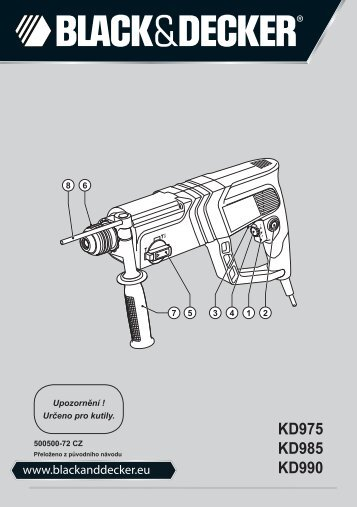BlackandDecker Marteau Rotatif- Kd985 - Type 2 - Instruction Manual (Tchèque)