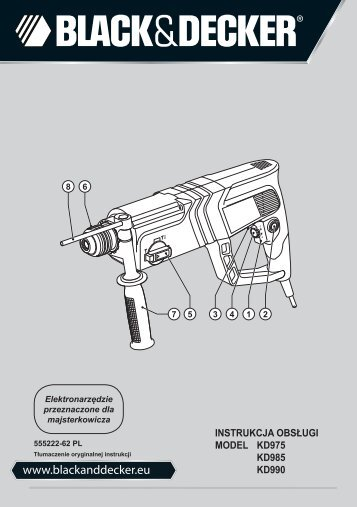 BlackandDecker Marteau Rotatif- Kd985 - Type 2 - Instruction Manual (Pologne)