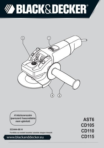 BlackandDecker Meuleuse Petit Diamètre- Ast6 - Type 4 - Instruction Manual (la Hongrie)