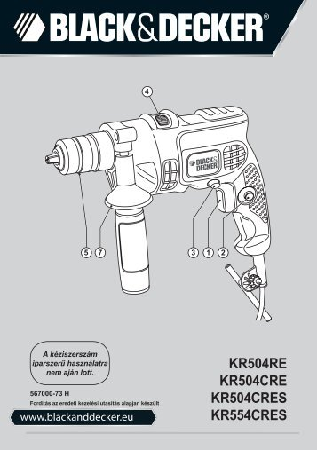BlackandDecker Marteau Perforateur- Kr504cre - Type 1 - Instruction Manual (la Hongrie)