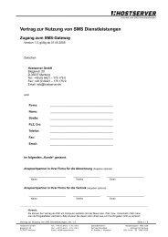 Vertrag zur Nutzung von SMS Dienstleistungen - Hostserver GmbH