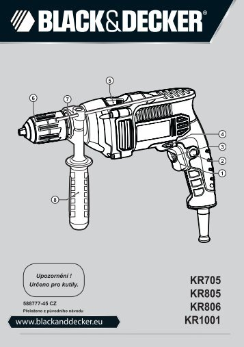 BlackandDecker Perceuse- Kr806k - Type 1 - Instruction Manual (Tchèque)
