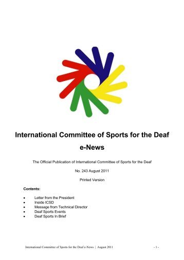 International Committee of Sports for the Deaf e-News - Deaflympics