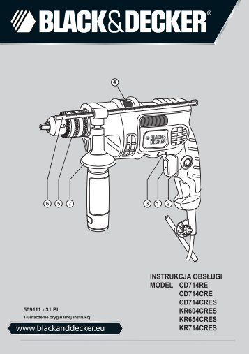 BlackandDecker Marteau Perforateur- Kr654cres - Type 1 - Instruction Manual (Pologne)