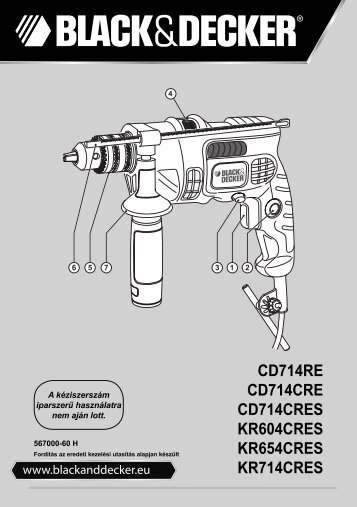 BlackandDecker Marteau Perforateur- Kr654cres - Type 1 - Instruction Manual (la Hongrie)