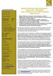 maiden unicorn jorc resource – indicated + inferred ... - Dart Mining