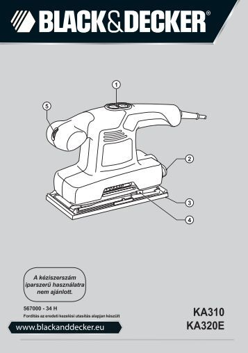 BlackandDecker Ponceuse Orbitale- Ka310 - Type 1 - Instruction Manual (la Hongrie)