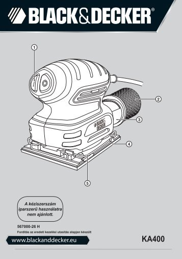 BlackandDecker Ponceuse Orbitale- Ka400 - Type 1 - Instruction Manual (la Hongrie)