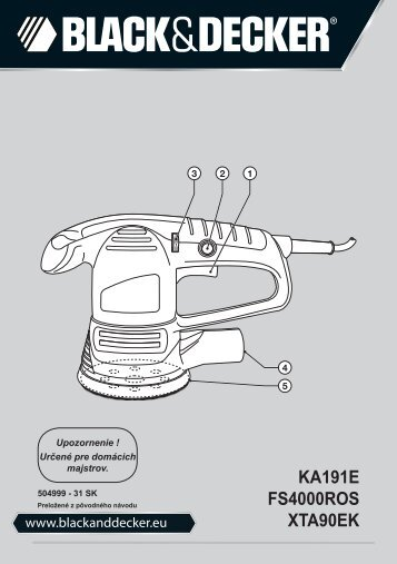 BlackandDecker Poncceuse Orbitale- Xta90ek - Type 3 - Instruction Manual (Slovaque)