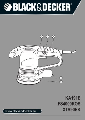 BlackandDecker Poncceuse Orbitale- Ka191ek - Type 3 - Instruction Manual (Européen)