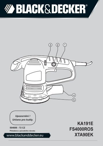 BlackandDecker Poncceuse Orbitale- Ka191ek - Type 3 - Instruction Manual (Tchèque)