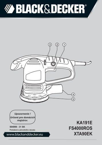 BlackandDecker Poncceuse Orbitale- Ka191ek - Type 3 - Instruction Manual (Slovaque)