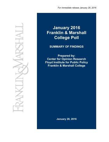 Fr Janu ranklin Col uary 2 n & M lege P 2016 Marsh Poll all