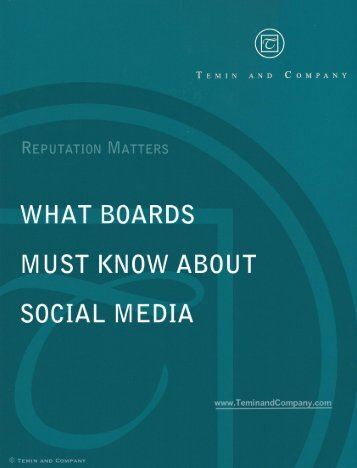 WHAT BOARDS MUST KNOW ABOUT SOCIAL MEDIA