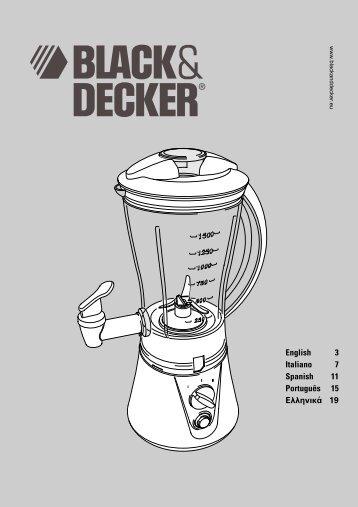BlackandDecker Mixeur- Bs500 - Type 1 - Instruction Manual (Européen)