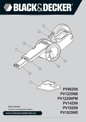 BlackandDecker Aspirateur Port S/f- Pv9625n - Type H1 - Instruction Manual (Roumanie)