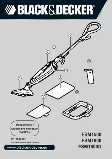 BlackandDecker Balai Laveur Vapeur- Fsm1600 - Type 1 - 2 - Instruction Manual (Slovaque)