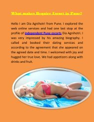 What makes Require Pune call girl services
