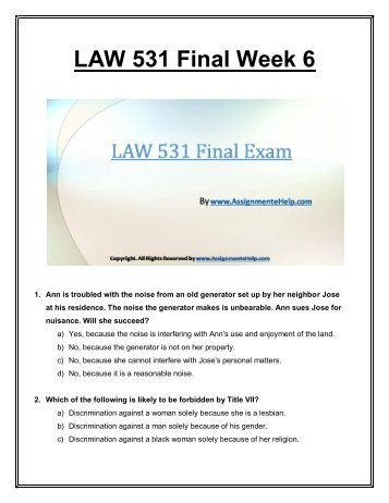 final exam questions law 531 Law 531 free final exam review free law 531 final exam 1 law law 531 final exam 30 questions with answers emmajons ops 571 free final exam sg 2014 rogue phoenix str581 week 3 knowledge check rogue phoenix str581.