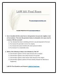 Business LAW 531 Final Exam New Assignments.