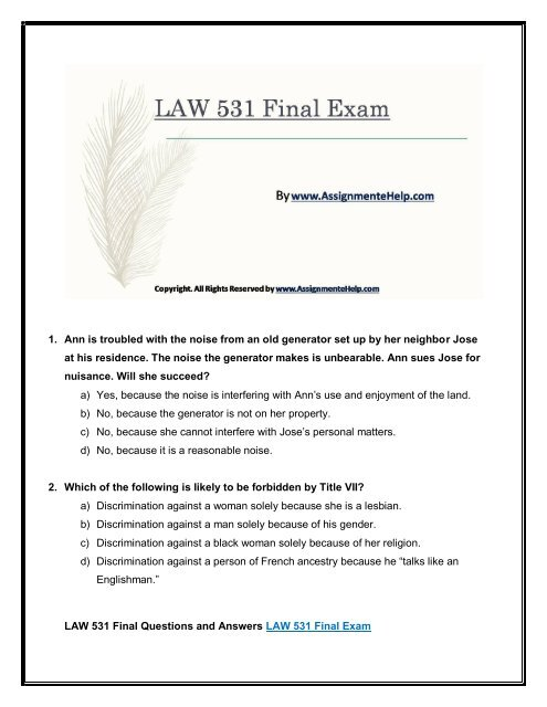 Business LAW 531 Final Exam New Assignments