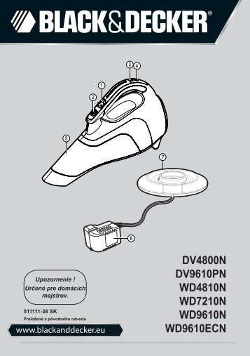 BlackandDecker Wet N'dry Vac- Wd7210n - Type H1 - Instruction Manual (Slovaque)