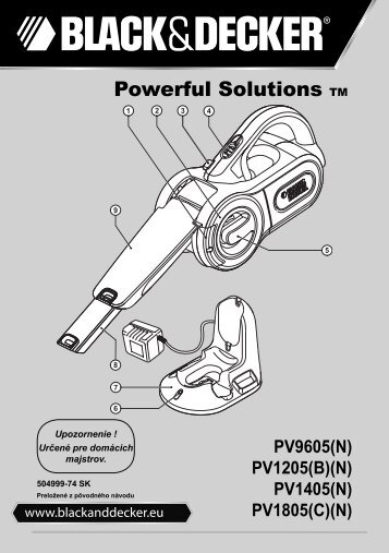 BlackandDecker Aspirateur Port S/f- Pv9605 - Type H1 - Instruction Manual (Slovaque)